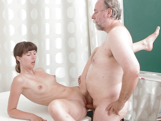 TrickyOldTeacher - Shy College girl has her sexy shaved pussy fucked off out of one's mind her old fat teacher