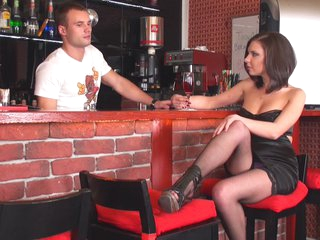 Amelia in hot chick wore only stockings while having sex