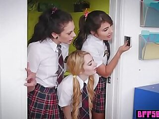 Naughty teens in cram uniform tasted ther hot teachers pussy