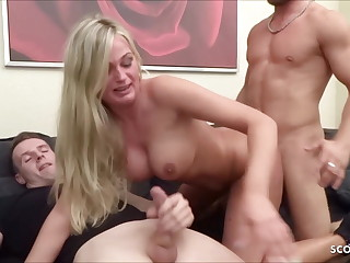 2 Brothers jolly along German Step Sister fro First Threesome Fuck